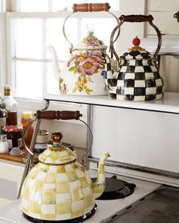 MacKenzie-Childs Flower Market Enamel 2 Quart Tea Kettle - W