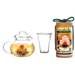 Flowering Tea Set with 40-oz Stove Top Clear Glass Pot Kettl