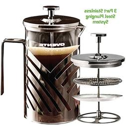 Ovente FSD27P Stainless Steel French Press Coffee Maker, 27