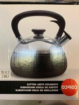 Copco Fusion Tea Kettle - 2 Quarts, Black Enamel on Stainles