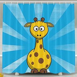 Giraffe Bathroom Shower Curtain, Waterproof Bath Decorations