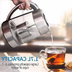 Glass Electric Water Kettle 1.7L w/ Tea Strainer for Tea Cof