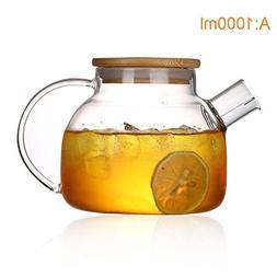 Emousport 1000ml/1800ml Glass Kettle Water Jug Heat Resistan