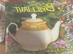 Glass /   porcelain   Tea Pot  Kettle  White with gold desig