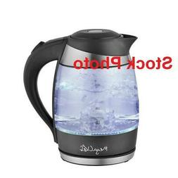 MegaChef Glass and Stainless Steel Electric Tea Kettle, 1.8