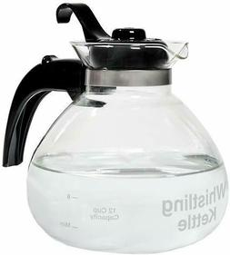 Glass Stovetop Kettle, Whistling, German Borosilicate, 12-Cu