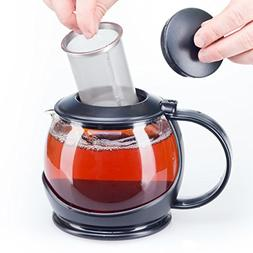 Glass Teapot with Infuser and Warmer Sleeve, Blooming Loose