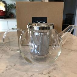 Glass Teapot Borosilicate Tea Kettle Stovetop Safe Stainless