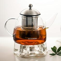 Ovente Glass Teapot, 44 oz, with Stainless Steel Mesh Filter