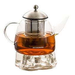 Ovente 44 Ounce Glass TeaPot, Strainer and Warmer with Ergon