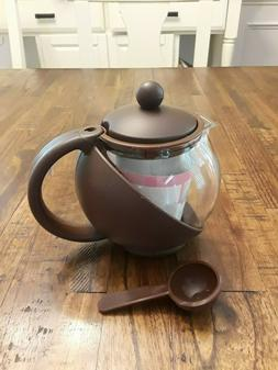 Glass Teapot Personal Tea Kettle QVC  3 Cup 24 Ounces Red Bl