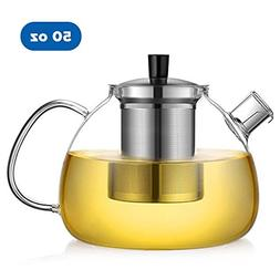 Ecooe 50 Ounce Clear Glass Teapot with 18/10 Stainless Steel