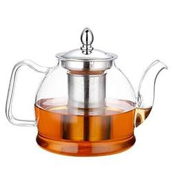 Glass Teapot with Removable Infuser, Stovetop Safe Tea Kettl