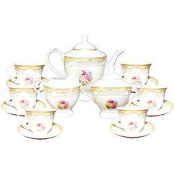 Set of 17 Gold Floral Design Tea Milk Sugar Pot Kettle Cup S