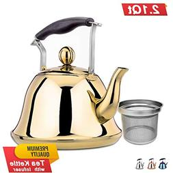 Gold Whistling Tea Kettle Stainless Steel Stovetop Teakettle