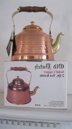 Old Dutch Hammered Copper Tea Kettle with Brass Spout and Wo