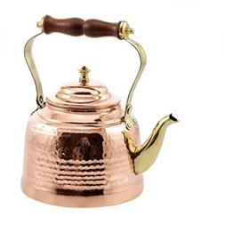Old Dutch Hammered Tea Kettle with Brass Spout and Knob and