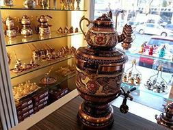 Handmade Embroidered Copper Electrical Urn Tea Pot Kettle Se