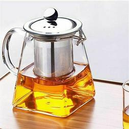 Heat Resistant Clear Glass Teapot Jug W / <font><b>Infuser</