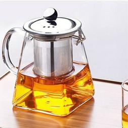 Heat Resistant Clear Glass Teapot Jug With Infuser Coffee Te