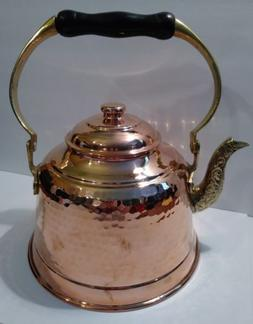 CopperBull Heavy Gauge 1mm Thick Hammered Copper Tea Pot Ket