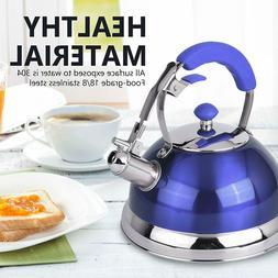 18/8 Stainless Steel Whistling Tea Kettle, 2.5 Liter, Blue/R