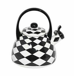 HOME-X Black Checkered Whistling Tea Kettle, Cute Animal Tea