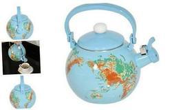 HOME-X Globe Map Whistling Tea Kettle, Cute Fruit Teapot, Ki