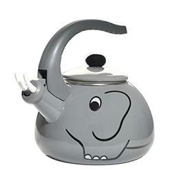 HOME-X Gray Elephant Whistling Tea Kettle, Animal Teapot, Ki