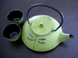 Happy Sales HSCT-DYL14, Cast Iron Tea Pot Tea Set Dragonfly