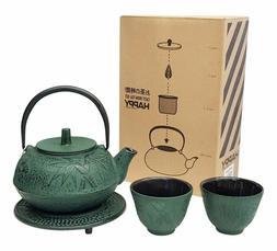 Happy Sales HSCT-BMG04, Cast Iron Tea Pot Tea Set Green Bamb