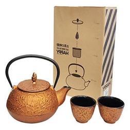 Happy Sales  HSCT-PNC17 , Cast Iron Tea Pot Tea Set Pine Cop