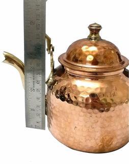 indian copper hammered tea kettle pot inside