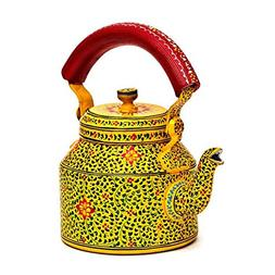 Indian Traditional Hand Painted Steel Tea Kettle Tea Pot Mug