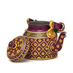 Indian Traditional Hand Painted Tea Kettle Tea Pot Steel  Ro
