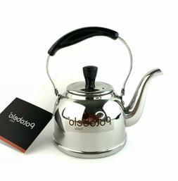 Potobelo Italia Tea Kettle Teapot 2 Qt Stainless Steel Black