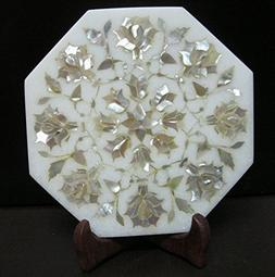 """Kettle Cum Teapot Stand 6"""" Octagon Mother of Pearl Stones Wh"""