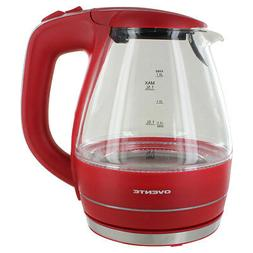 Ovente KG83R 1.5L Glass Electric Kettle, Red