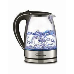 KT-1900BK 1.7L Borosilicate Glass Tea Kettle in Black
