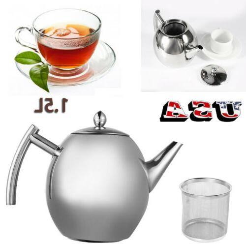 1.5L Large Capacity Stainless Steel Kettle Teapot Coffee Pot