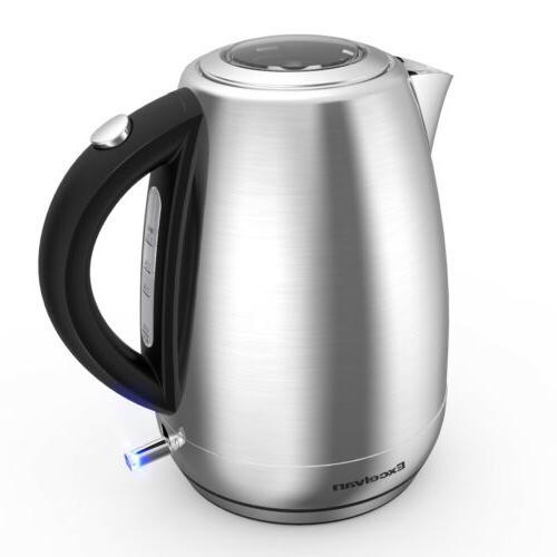 1500W Cordless Tea Kettle Stainless Steel LED