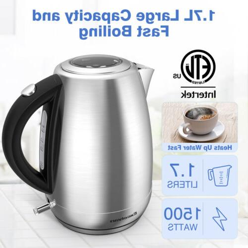 New Electric Tea Kettle 1.7L 1500W Cordless Hot Water Pot Au