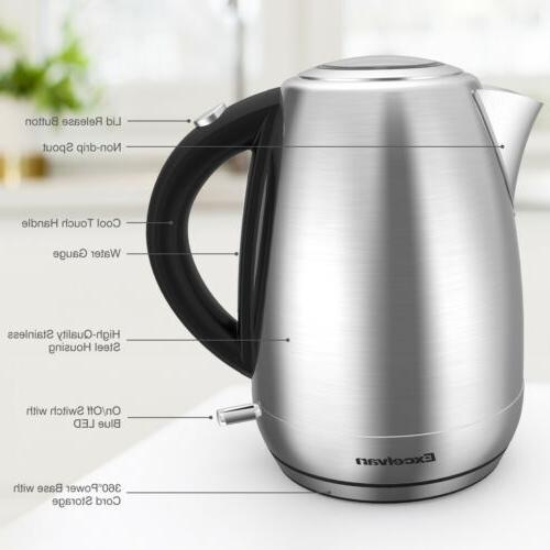 1500W 1.7L Cordless Electric Tea Stainless Hot Pot LED