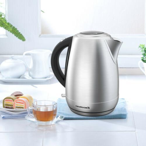 1500W 1.7L Cordless Tea Kettle Hot Boil, LED