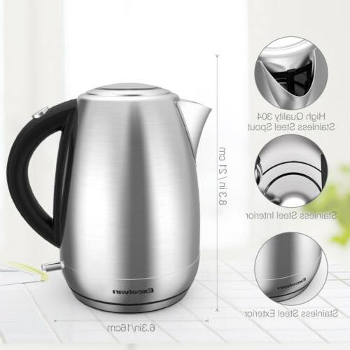 1500W 1.7L Cordless Tea Kettle Hot Boil, LED