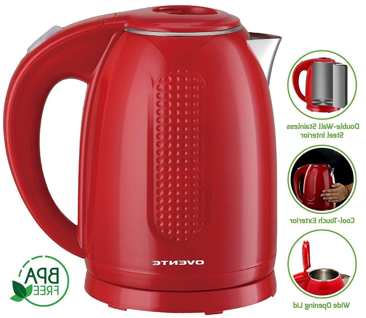 Ovente BPA-Free Cordless Kettle Double-Walled 1.7KD64