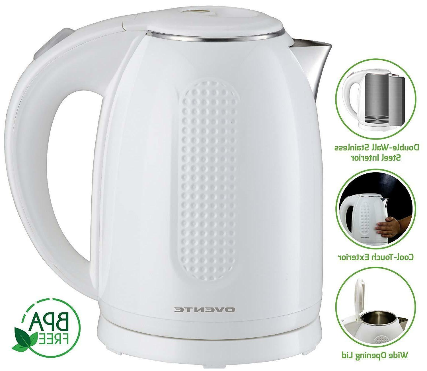 Ovente BPA-Free Kettle Double-Walled Stainless 1.7KD64