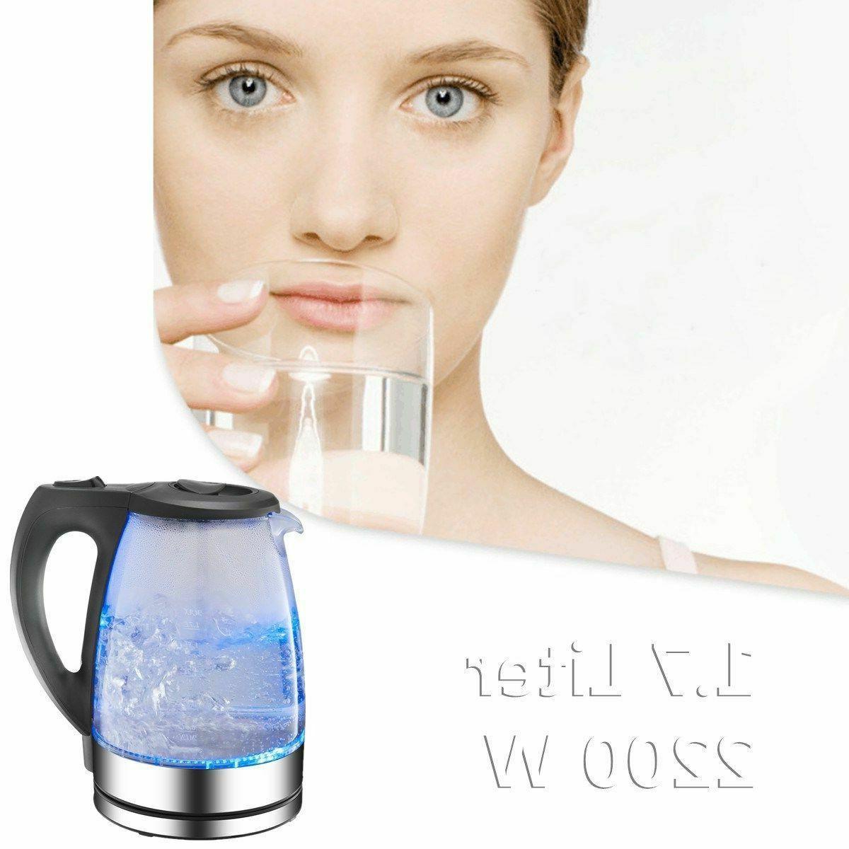 New Cordless Electric Tea Pot Blue Light