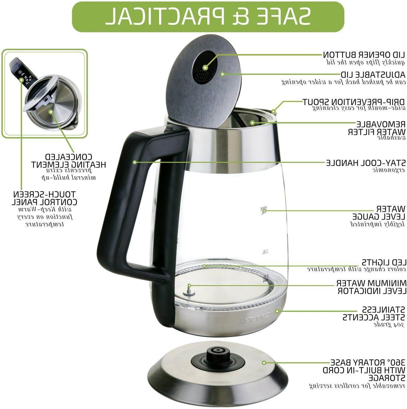 Ovente 1.8L Electric Tea Kettle Temperature Control BPA