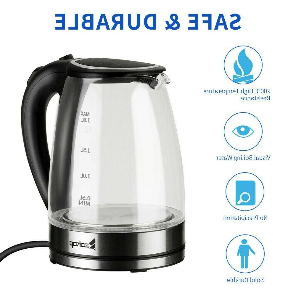 1 8l electric kettle glass coffee tea